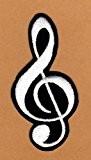 Ecusson brodé Ecussons Thermocollants Notes de musique Noir / Blanc