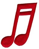 Ecusson brodé Ecussons Thermocollants Notes de musique Rouge