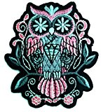 Ecusson - hibou tatouage style animal - rose - 6.9x7.9cm - patches brode appliques embroidery thermocollant