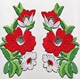 """ecusson patch badge applique fleur thermocollant brode broderie pour vetement jeans veste enfant bebe femme ecusson thermocollant """" kit 2 ..."""