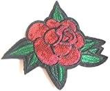 """ecusson patch badge applique thermocollant brode broderie pour vetement jeans veste enfant bebe femme ecusson thermocollant"""" Rose rouge grande avec ..."""