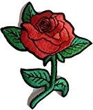 """ecusson patch badge applique thermocollant brode broderie pour vetement jeans veste enfant bebe femme ecusson thermocollant """"Fleur rose rouge 8 ..."""