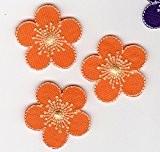 Ecusson thermocollant 3 Petites Fleurs Coloris Orange