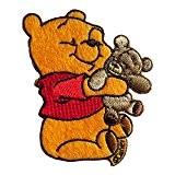 Ecusson - Winnie Puuh avec Teddy Disney Comic enfants - jaune - 7,8x6cm - patches brode appliques embroidery thermocollant