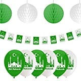 Eid Mubarak Ramadan Celebration Décoration Ballons, fanions et boules à suspendre en nid d'abeille (Vert/Blanc)