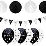 Eid Mubarak Ramadan Décoration Ballons, fanions et boules en nid d'abeille à suspendre (noir / blanc)
