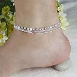 Elégant Bracelet de Cheville de Femme de 4 Couches Chaîne de Décor de Cheville de Faux Diamant