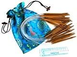 Ensemble de 19 Tailles de 2mm à 12mm Aiguilles à Tricoter Circulaires en Bambou Carbonisé 60cm et Jauge à Aiguilles ...