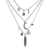 eshion Jewelry feuilles multicouche Moon Star Collier Pendentifs Style Bohême Multi couches Collier Manteau long collier chaîne ras du cou ...