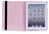 Étui de protection en cuir synthétique rotatif à 360° pour Apple iPad 3(Rose clair)