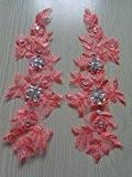 Fait main en cristal couleur pêche à coudre Patches paillettes strass en dentelle avec 249cm * * * * * ...
