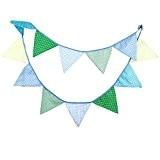 Fanions en tissu multicolore pour fête mariage anniversaire fête anniversaire bébé douche (Bleu et Vert)