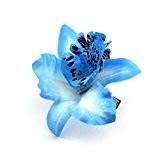 Fashion Wedding Bridal Flower Fabric Dendrobium Orchid Hair Clip Brooch Barrette Blue