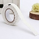 Fendii DIY Craft Dentelle Chiffon ruban adhésif autocollant ruban adhésif de décoration Rose vif Width?1.7cm blanc