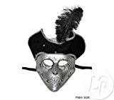Fiesta Palace - grand masque vénitien avec ornements et chapeau à plume
