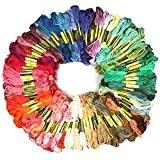 Fils à Broder, Rhidon 100 échevettes de Fil Broderie Polyester-coton pour Point de Croix Tricotage Bracelets
