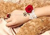Five season Bracelet avec bague accrochée en dentelle Blanc/rouge