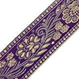 Floral Sari Border Violet Inde ruban Garniture Tissu Jacquard Craft dentelle au mètre