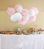 Furuix Pompons en papier de soie et fleurs en papier à suspendre Décorations idéales pour mariage, baby shower, jardin 12pièces ...