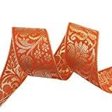 Garniture d'Orange Sari Border Floral Jacquard Ruban 4,0 cm large garniture par le chantier