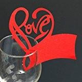 Generic 50pcs Carte de Verre Marque Place Forme de Coeur Love Décor de Table pour Mariage - Rouge