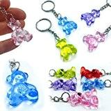 German Trendseller® -6 x porte-clés nounours?pendentif ourson?mélange de couleurs?en optique cristal ?petit cadeau ?l'anniversaire d'enfant