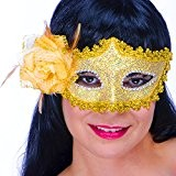 German Trendseller® - masque vénitien en dentelle? or? avec rose or? de luxe ?carnaval ?déguisement? bal masqué