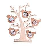 giftgarden Cadre Arbre de la famille en bois avec 5cadres oiseaux