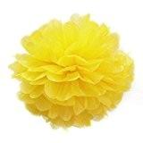 Gleader 8''Pompon Boule de Fleur en Papier de Soie Decoration de Noce (Jaune)