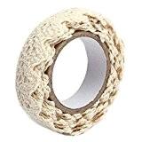 Gleader Rouleau Ruban Dentelle Decoratif Adhesif Autocollant Galon Cadeau Masking Tape artisanat 1.7m Tissu en coton beige