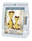 Go fabriqué à la main 80071Giraffes, JULIA et Lotta 1Kit crochet, coton, Jaune/Marron, 16x 7x 22cm