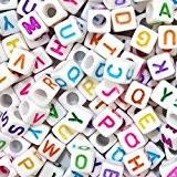 Goodlucky365 500 Perles Lettre Alphabet A-Z Cubes Blanc Plastique en Acrylique, Taille 6x6mm Enfilage Facile, Fabrication de Bracelets Colliers Bijoux ...