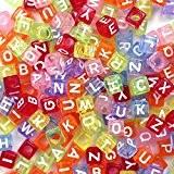 Goodlucky365 500 Perles Lettre Alphabet A-Z Cubes Translucide Multicolore Plastique en Acrylique, Taille 6x6mm, Enfilage Facile, Fabrication de Bracelets Colliers ...