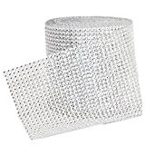 Gosear® 10 Yards 24 Rangs Rangées de Ruban Strass Argent Diamant Enveloppement D'Articles de Bricolage Fête de Mariage Décorations