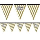 Guirlande à fanions Joyeux anniversaire noir et or 3,7m
