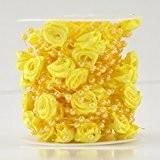 Guirlande de perles et petites roses en satin pour rideau ou décoration, 10 mètres (1 rouleau) jaune