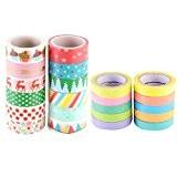 GWHOLE Lot de 12 Ruban Adhésifs à Motifs Washi Tape + 10 Décoratif Adhésif Autocollants Rainbow Paper pour Scrapbooking / ...