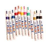 Gzzhongheng Set de stylos marqueurs 12couleurs à base de peinture à l'huile Pour métal et verre Résistant à l'eau