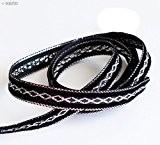 HAND Elégant noir et garniture de ruban d'argent Craft Party DIY - Assorted Largeur et Styles (NO.FBS02 Velvet 10mmx20m)
