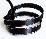HAND Elégant noir et garniture de ruban d'argent Craft Party DIY - Assorted Largeur et Styles (NO.FBS04 Satin 7mmx22m)