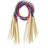 Haobase 18pcs 2.0mm-10.0mm 80cm Aiguilles a Tricoter Circulaire en Bambou avec Tubes Colores