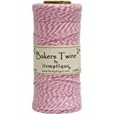 Hemptique Coton Bakers Twine Bobine 2 Plis 410 Pieds/Pkg-Light Pink/White