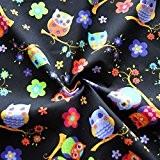 Hiboux Tissu polycoton Noir pour enfant Bleu Craft enfants Robe de chambre d'enfant (au mètre)