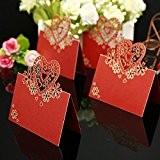 Hits(TM)50x Carte nom Laser Marque Place Coeur décoration Pour Mariage Anniversaire Fête Soirée rouge