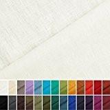 Holmar - Tissu en lin - Au mètre - Pré lavé - 20 couleurs - Crème