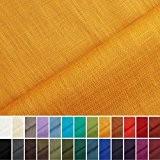 Holmar - Tissu en lin - Au mètre - Pré lavé - 20 couleurs - Ocre