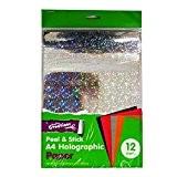 Holographique A4Papier Peel et Stick-12feuilles, 6couleurs assorties avec différents Designs holographique.