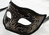 Hommes Vénitien Masque de Mascarade Partie des Yeux Masque Noir et Or Carnaval