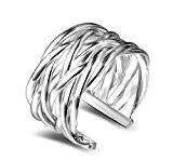 Hosaire 1 Piece Delicate femmes argent tissé maille dame anneau fille bijoux bague charmant cadeau de bijoux de doigt