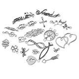 20 Pcs Mixte Pendentifs Breloques Métal Pr Bracelet Collier 10.5x5.9cm